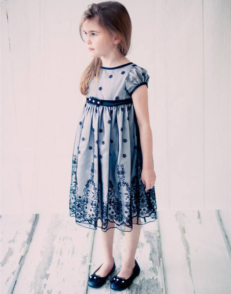 Flower Girl Dress Taffeta and Floral Embroidered Tulle Overlay DressSilv Party Dress Special Occasion Dress