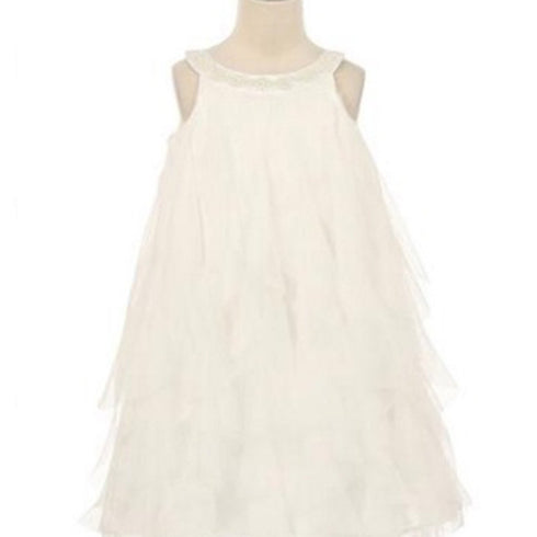 Mesmeric Mesh Ruffle Dress with Beaded Neckline - White