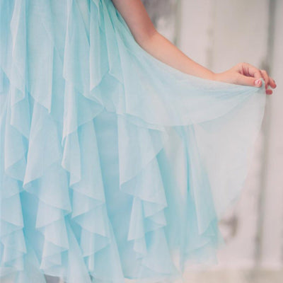 Mesmeric Mesh Ruffle Dress with Beaded Neckline - Turquoise
