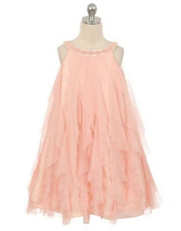 d96aed60d Flower Girl Dress Mesh Ruffle Girls Dress with Beaded Neckline Blush Party  Dress Special Occasion Dress
