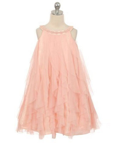 Mesmeric Mesh Ruffle Dress with Beaded Neckline - Blush
