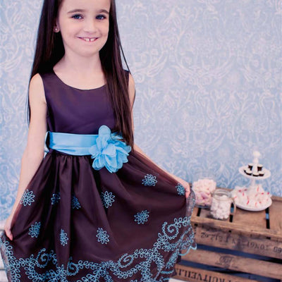 Sleeveless Satin and Floral Print Organza Overlay Dress - Chocolate