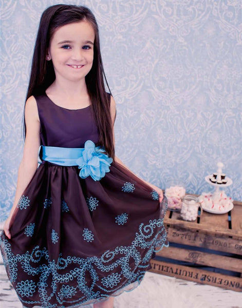 Flower Girl Dress Sleeveless Satin and Floral Print Organza DressChocola Party Dress Special Occasion Dress