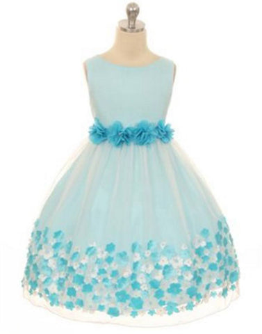 Appealing Flower Mesh Dress - Turquoise