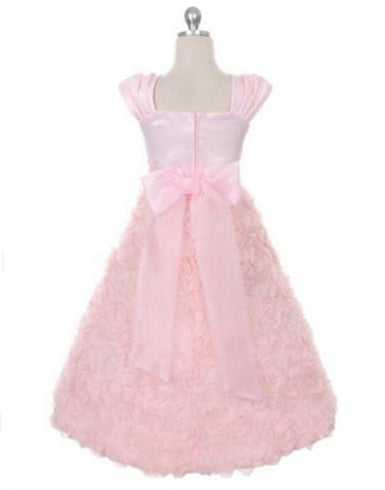 Satin Bodice and Ruffled Rosette Skirt with Beaded Belt - Pink