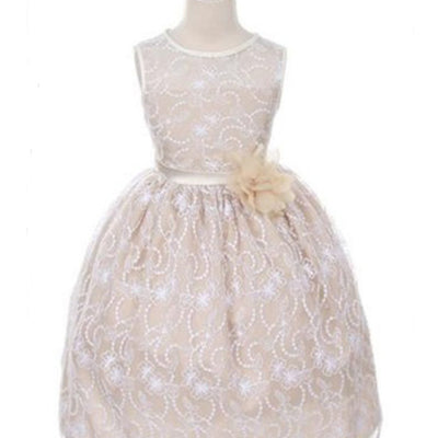 Satin Lining and Floral Overlay Lace Dress - Champagne