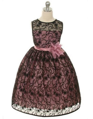 Satin Lining and Floral Overlay Lace Dress - Black / Rose