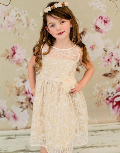 Satin Lining and Floral Overlay Lace Dress - Ivory