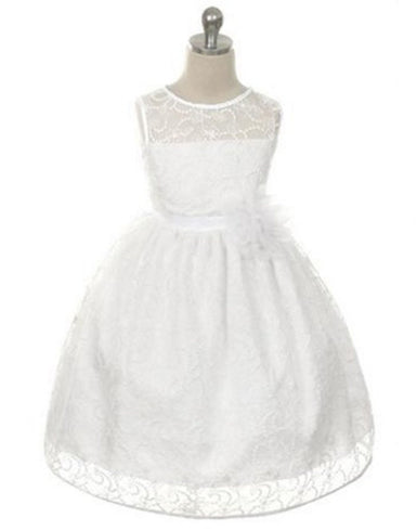 Satin Lining and Floral Overlay Lace Dress - White