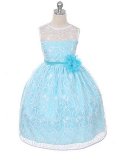 Satin Lining and Floral Overlay Lace Dress - Turquoise