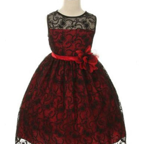 Satin Lining and Floral Overlay Lace Dress - Black / Red