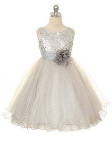 1ad18008b Glittery Sequined Bodice and Double Layered Mesh Dress - Silver