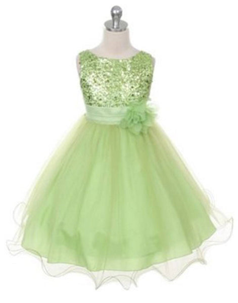 Flower Girl Dress Sequined Bodice and Double Layered Mesh DressApple Gre Party Dress Special Occasion Dress