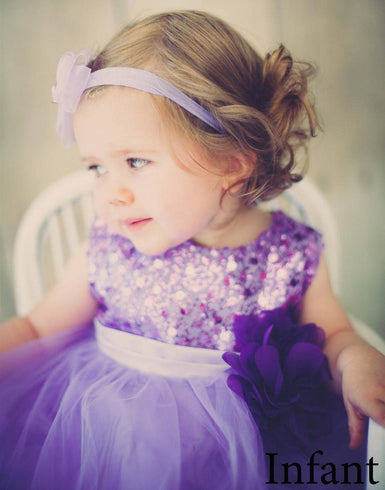 Glittery Sequined Bodice and Double Layered Mesh Dress - Lavender