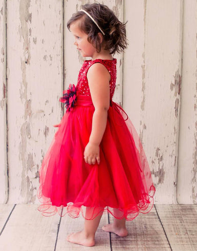 Glittery Sequined Bodice and Double Layered Mesh Dress - Red