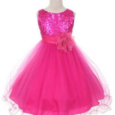 Glittery Sequined Bodice and Double Layered Mesh Dress - Fuchsia
