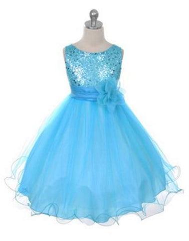 Glittery Sequined Bodice and Double Layered Mesh Dress - Turquoise