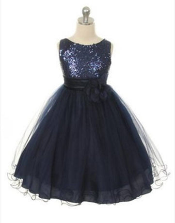 b9ab9a62cc286 Flower Girl Dress Sequined Bodice and Double Layered Mesh DressNavy Blue  Party Dress Special Occasion Dress