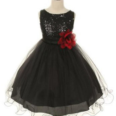 Glittery Sequined Bodice and Double Layered Mesh Dress - Black