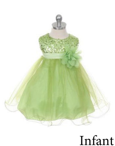 Glittery Sequined Bodice and Double Layered Mesh Dress - Apple Green