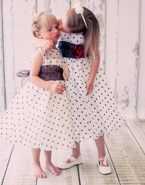 Flower Girl Dress Polka Dot Organza Overlay Dress with Organza Sash Ivory Party Dress Special Occasion Dress