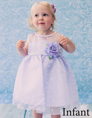 Polka Dot Organza Overlay Dress with an Organza Sash - Lavender