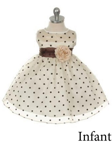 Polka Dot Organza Overlay Dress with an Organza Sash - Ivory / Brown