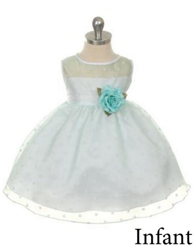 Polka Dot Organza Overlay Dress with an Organza Sash - Mint