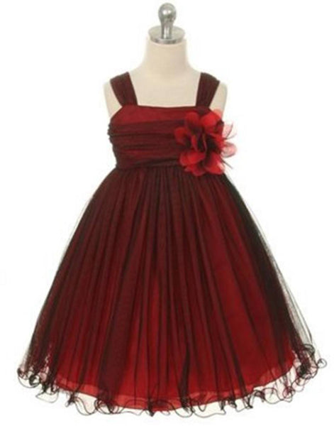 Flower Girl Dress Mesh and Taffeta Overlay Dress Dress Black & Red Party Dress Special Occasion Dress