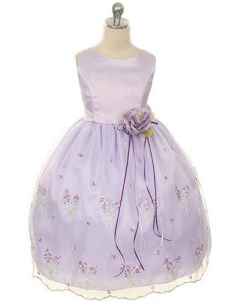 Flower Girl Dress Satin Bodice and Floral Organza Overlay SkirtLilac Party Dress Special Occasion Dress