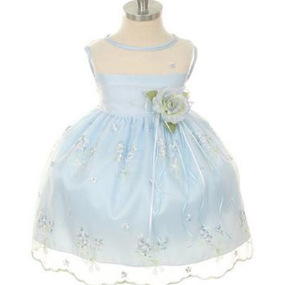 Shimmery Satin Bodice and Floral Embroidered Organza Overlay Skirt Dress - Light Blue