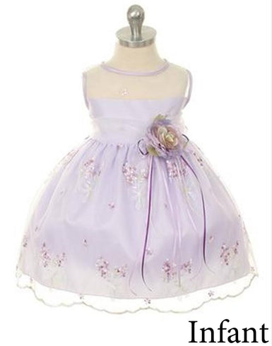 Shimmery Satin Bodice and Floral Embroidered Organza Overlay Skirt Dress - Lavender
