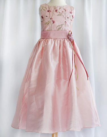 Floral Patterned Bodice and Satin Skirt Dress - Pink / Sage Green