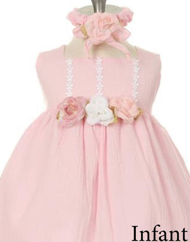 Sleeveless Linen Dress with Flower Trims - Pink