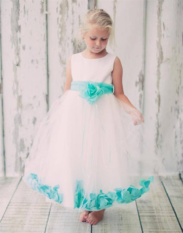 960612568 Tulle Overlay Flower Girl Petal Dress - White