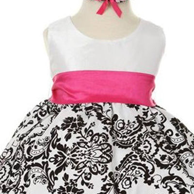 Lovely Dress with Black Velvet Flocked Damask On White Taffeta - Fuchsia