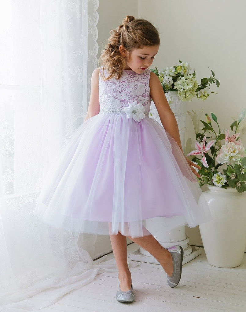 glamorous and lace tulle dress with flower accented belt