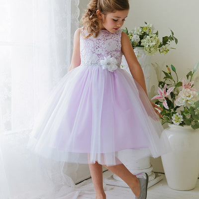 Glamorous and Lace tulle Dress with Flower Accented Belt - Lavender