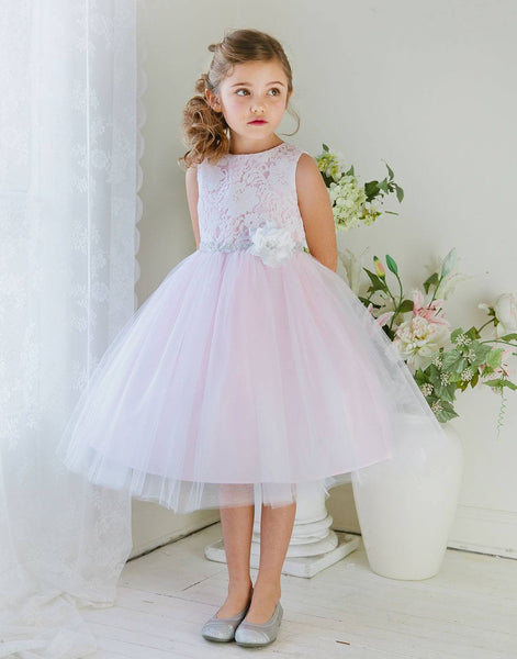 Flower Girl Dress Glamorous Lace tulle Dress with Flower Accented Belt Party Dress Special Occasion Dress