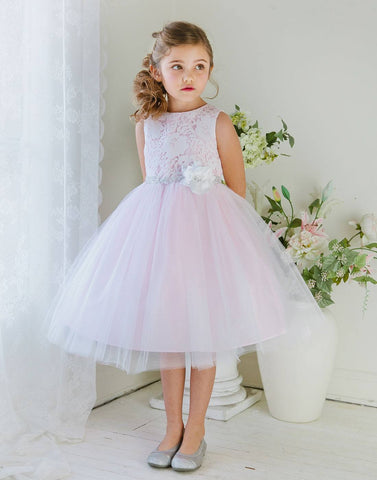 Glamorous and Lace tulle Dress with Flower Accented Belt - Pink