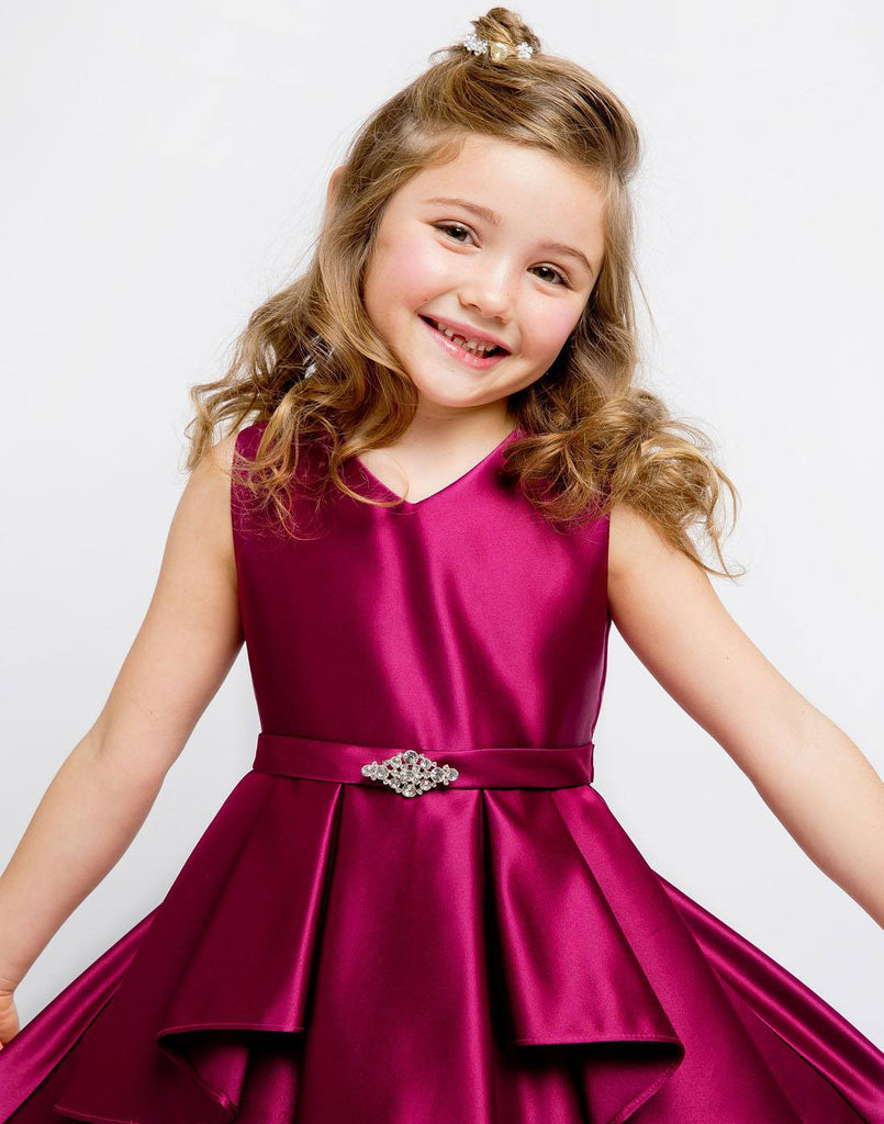 Flower-Girl-Dress-Lustrous-Satin-Layered-Dress-a-Rhinestone-Brooch-Party-Dress thumbnail 6