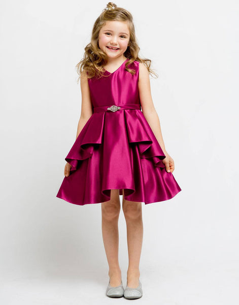 Flower Girl Dress Satin Layered Dress with a Rhinestone Brooch Fushia Party Dress Special Occasion Dress