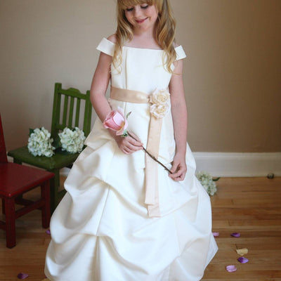 Admirable Satin Pickup Dress with Drop Sleeves - Ivory