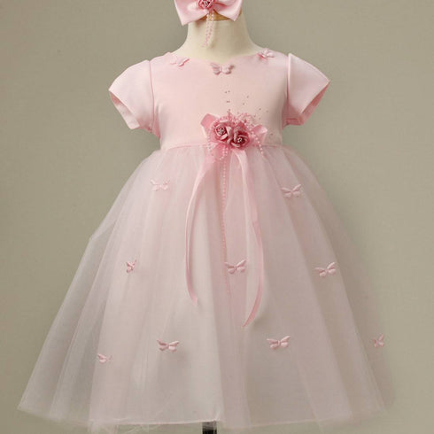 Butterfly Adorned Tulle and Satin Dress with a matching Bow Clip - Pink