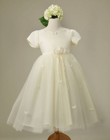 Butterfly Adorned Tulle and Satin Dress with a matching Bow Clip - Ivory