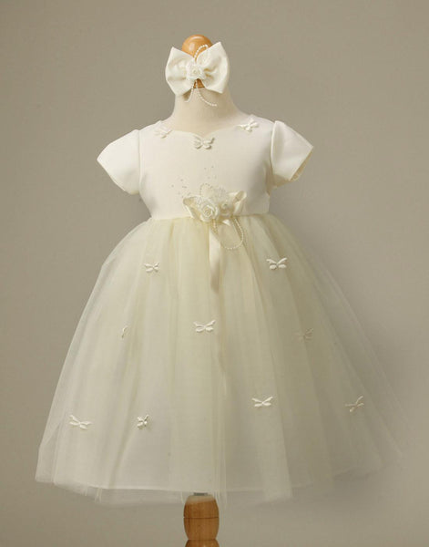 Flower Girl Dress Butterfly Adorned Tulle and Satin Dress with Bow Clip Party Dress Special Occasion Dress