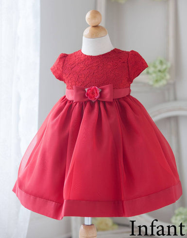 Attractive Lace and Mirror Organza Dress with a Satin Blossom - Red