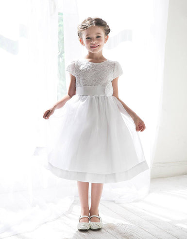 Attractive Lace and Mirror Organza Dress with a Satin Blossom - White