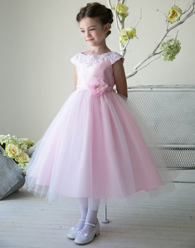 Lustrous Satin and Tulle Dress with Crochet Trim and Flower - Pink