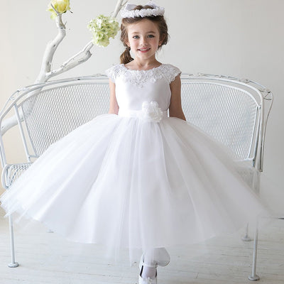 Lustrous Satin and Tulle Dress with Crochet Trim and Flower - White